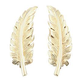 Tiffany & Co. 14K Yellow Gold Fern Leaf Clip On Vintage Earrings
