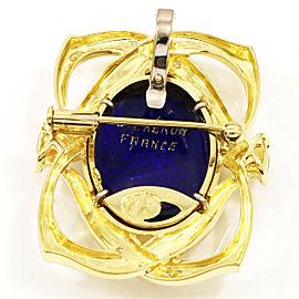 Mitsuo Kaji 18K Yellow Gold C. Cheron Stone Diamond Cameo Pin Brooch