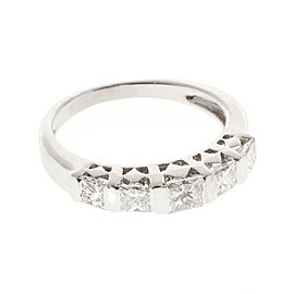 18K White Gold and 0.80ct Diamond 5 Stone Bar Ring Size 4.5