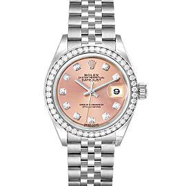 Rolex Datejust 28 Steel White Gold Pink Dial Ladies Watch 279384