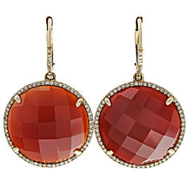 14K Rose Gold Diamond, Agate Earrings