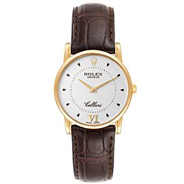 Rolex Cellini Classic 18k Yellow Gold Silver Dial Brown Strap Watch 5116