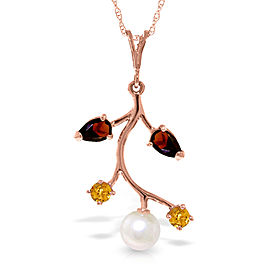 14K Solid Rose Gold Necklace with Garnets, Citrines & Cultured Pearl