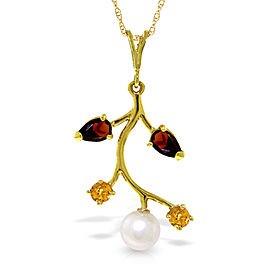 2.7 CTW 14K Solid Gold Necklace Garnet, Citrine Cultured Pearl