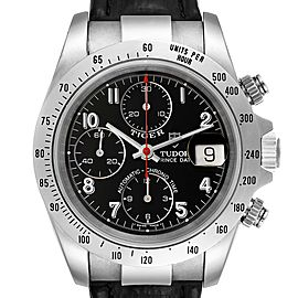 Tudor Tiger Woods Chronograph Black Dial Steel Mens Watch 79280 Papers