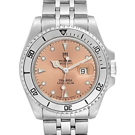 Tudor Prince Date Mini Sub Salmon Dial Steel Mens Watch 73190 Papers