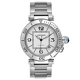 Cartier Pasha Seatimer Stainless Steel Silver Dial Mens Watch W31080M7