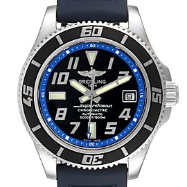 Breitling Superocean 42 Abyss Black Blue Dial Steel Mens Watch A17364 Box Papers