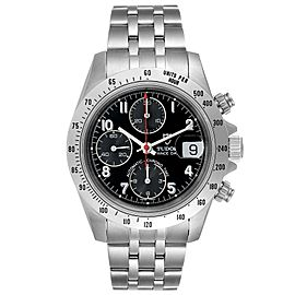 Tudor Prince Black Dial Chronograph Steel Mens Watch 79280