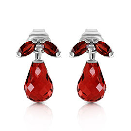 3.4 CTW 14K Solid White Gold High Principles Garnet Earrings