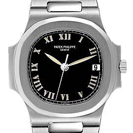 Patek Philippe Nautilus Black Dial Automatic Steel Mens Watch 3800 Papers