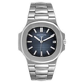 Patek Philippe Nautilus Blue Dial Steel Mens Watch 5711