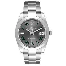 Rolex Datejust 41 Grey Dial Green Numerals Steel Mens Watch 126300