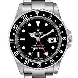 Rolex GMT Master II Black Bezel Red Hand Steel Mens Watch 16710 Box
