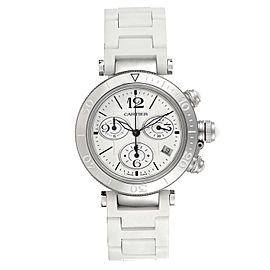 Cartier Pasha Seatimer Chronograph Rubber Strap Ladies Watch W3140005