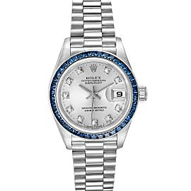 Rolex President Datejust White Gold Diamond Sapphire Ladies Watch 69119