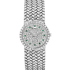 Piaget White Gold Pave Diamond Emerald Dial Vintage Cocktail Ladies Watch 9706