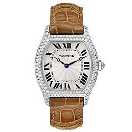 Cartier Tortue 18K White Gold Diamond Mens Watch WA504351