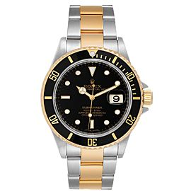 Rolex Submariner Steel Yellow Gold Black Dial Automatic Mens Watch 16613