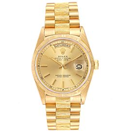 Rolex President Day-Date Yellow Gold Bark Finish Mens Watch 18078 Papers