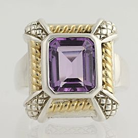 18K Yellow Gold, Sterling Silver Amethyst, Diamond Ring Size 7.25