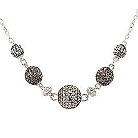 Judith Ripka 925 Sterling Silver Pave Cubic Zirconia Ball Necklace