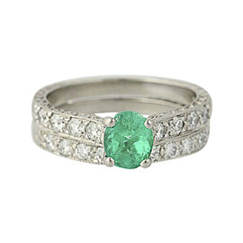 Scott Kay Palladium 1.88ctw Emerald & Diamond Wedding Band Set Ring Size 7