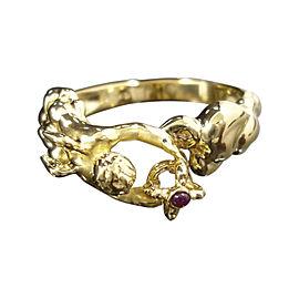Carrera y Carrera 18K Yellow Gold & Ruby Angel Ring Size 6.25