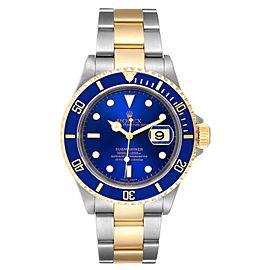 Rolex Submariner Purple Blue Dial Steel Yellow Gold Mens Watch 16613