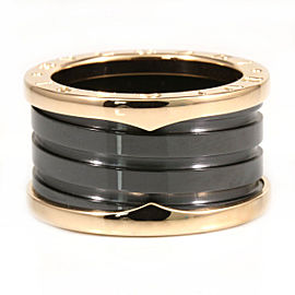Bulgari B-Zero 1 Black Ceramic & 18K Rose Gold Ring Size 6