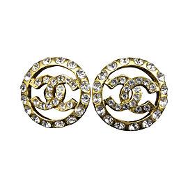 Chanel Gold-Tone Rhinestones Coco Mark Clip-On Earrings