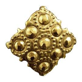 Chanel Gold-Tone Rhombus Pin Brooch