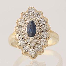 14K White Gold, 14K Yellow Gold Sapphire, Diamond Ring Size 3