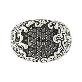 David Yurman Wave 925 Sterling Silver & 0.87ct Black Diamond Signet Ring Size 9.75