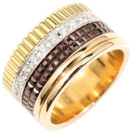 Boucheron Quatre Brown PVD & 18K Rose Gold Diamond Ring Size 7.25