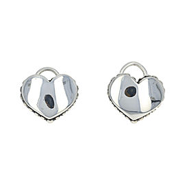 Lagos 925 Sterling Silver & 14K Yellow Gold Backs Caviar Heart Stud Earrings
