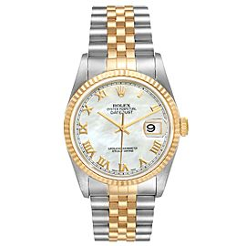 Rolex Datejust Steel Yellow Gold Mother of Pearl Dial Mens Watch 16233