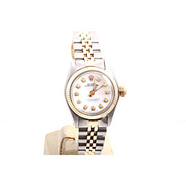 Rolex Oyster Perpetual 2tone Yellow Gold / Stainless Steel Mother of Pearl Diamond Dial 24mm Womens Watch