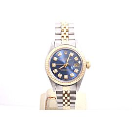 Rolex Datejust Yellow Gold And Stainless Steel Custom Blue Diamond Dial 26mm Womens Watch