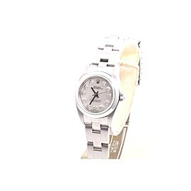Rolex Oyster Perpetual Stainless Steel Mother Of Pearl Diamond Dial Oyster Band 24mm Womens Watch