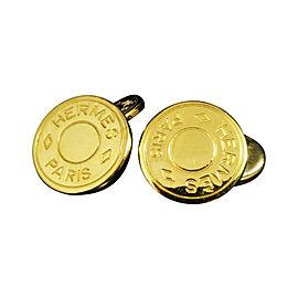 Hermes Serie Clou de Selle Selye Gold Tone Hardware Cufflinks