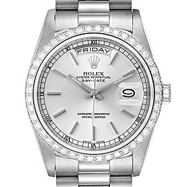 Rolex President Day-Date White Gold Diamond Dial Bezel Watch