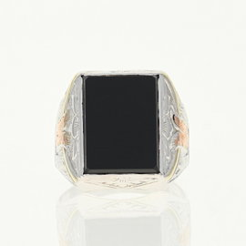 14K White Gold Onyx Ring Size 9