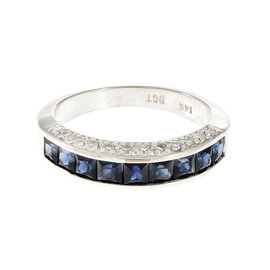 14K White Gold Diamond Sapphire Channel Ring Size 6.25