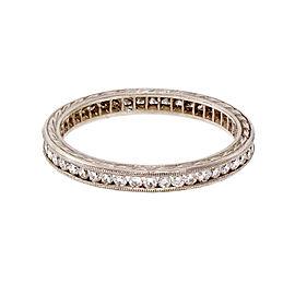 Estate Milgrain Platinum Diamond Eternity Ring Size 5.5