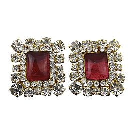 Vintage Chanel Gold Tone Hardware Rhinestone Color Stone Clip-On Earrings