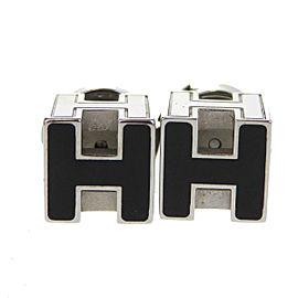 Hermes Paris Silver Tone Hardware Black H Cube Logos Pierce Earrings