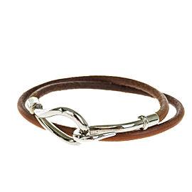 Hermes Silver Tone Hardware & Leather Jumbo Hook Double Wrap Bangle Bracelet