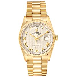 Rolex President Day-Date Yellow Gold Pyramid Dial Mens Watch 18238