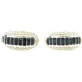 Christian Dior Silver Tone Hardware Rhinestone Clip-On Earrings